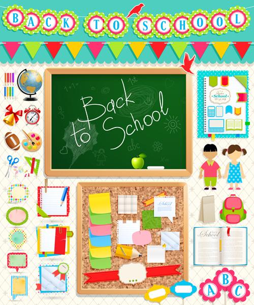 School supplies elements background vector 05