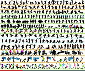 Different Sport Silhouettes vector 01