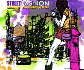Street fashion design elements vector 02