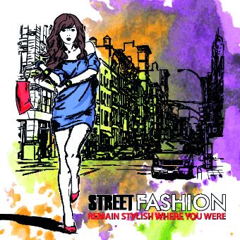 Street fashion design elements vector 03