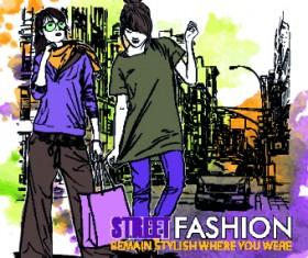 Street fashion design elements vector 04