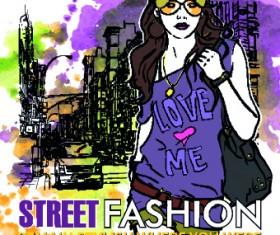 Street fashion design elements vector 05