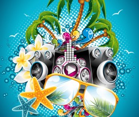 Summer Night Posters design vector 02