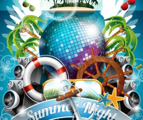 Summer Night Posters design vector 05