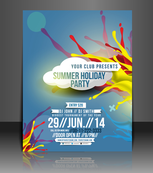 abstract summer party flyers design vector 01 free download