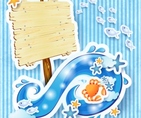 Summer elements with Wooden plaque vector 01
