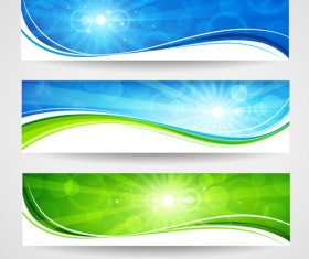 Sunlight with Nature Banners vector 01