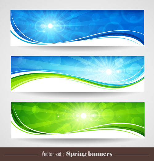 Sunlight with Nature Banners vector 01 - Vector Banner free download