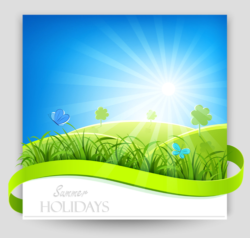 Sunlight with Nature Banners vector 02