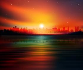 Sunset Landscapes background vector 04