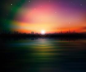 Sunset Landscapes background vector 05