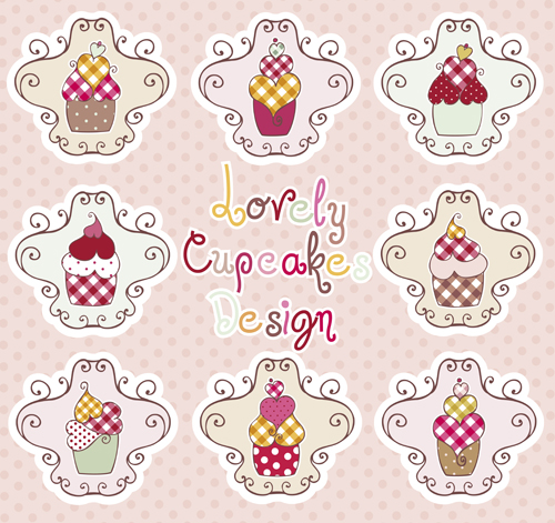 Delicious Cupcakes design elements vector 01