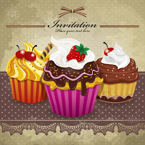 Delicious Cupcakes design elements vector 02