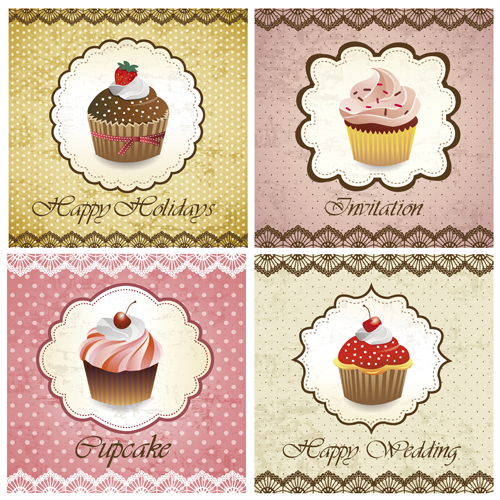 Delicious Cupcakes design elements vector 04