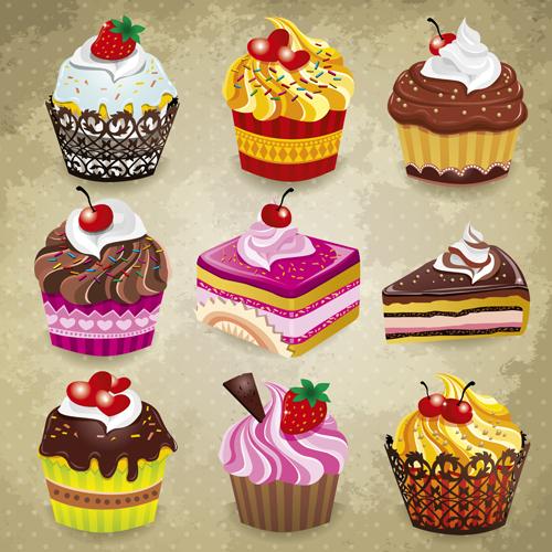 Delicious Cupcakes design elements vector 05