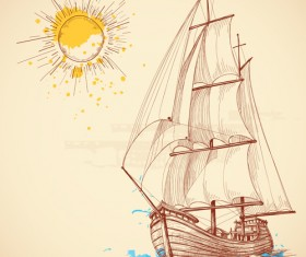 Hand drawn sailboat vector 02