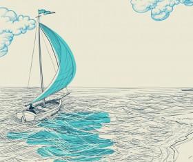 Hand drawn sailboat vector 03