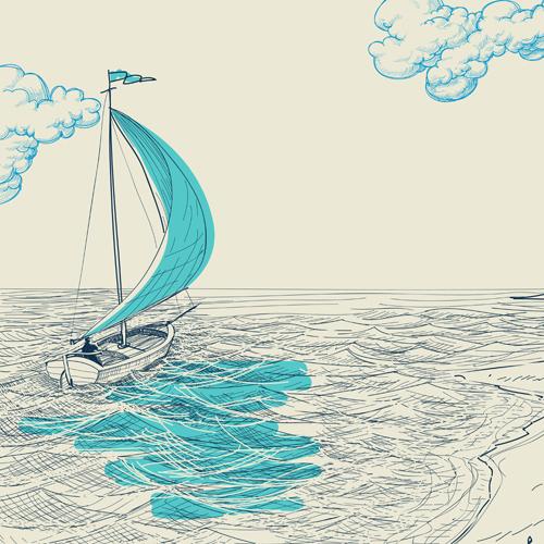 Cute Sailboat Drawing Hand drawn sailboat vector 03