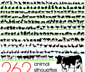 Silhouettes of animals design vector 01