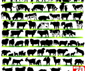 Silhouettes of animals design vector 02