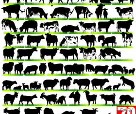 Silhouettes of animals design vector 02