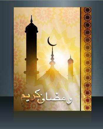 Ramadan Kareem flyer cover vector 02