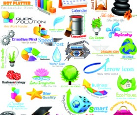 Shiny business logos design vector 01