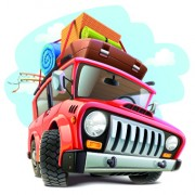 Link toFunny car with travel elements vector 02