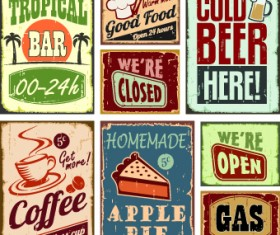Different Retro food card vector 03