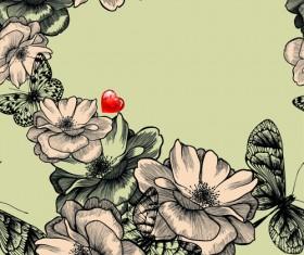 Hand drawn Floral art background 04