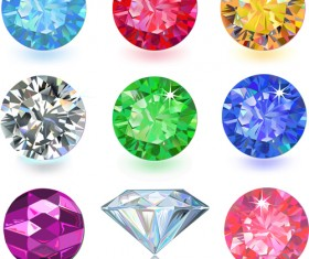 Colorful Gems design vector 04