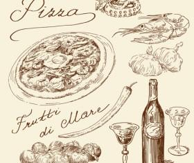 Retro pizza design vector 02