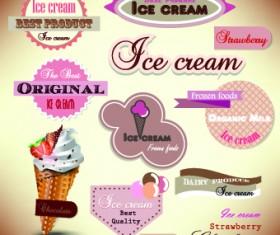 Ice cream Labels design vector 01
