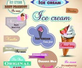 Ice cream Labels design vector 02