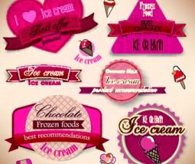 Ice cream Labels design vector 03