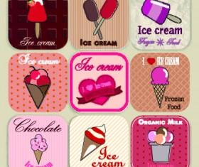 Ice cream Labels design vector 04