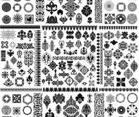Black and white floral frames vector