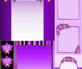 Purple flowers decorative frame vector