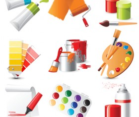 Bright paints colors design vector 01