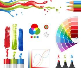 Bright paints colors design vector 03