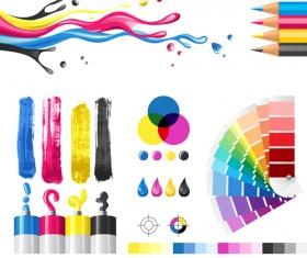 Bright paints colors design vector 04