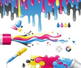 Bright paints colors design vector 05