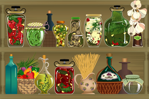 pantry design elements vector 04