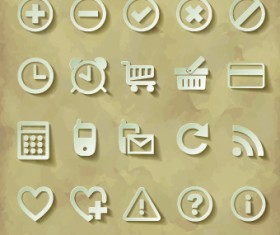 Paper cut of icons vector 01