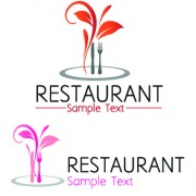 Link toRestaurant logos with menu illustration vector 02