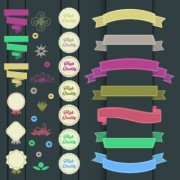 Link toRibbons with labels retro style vector 03