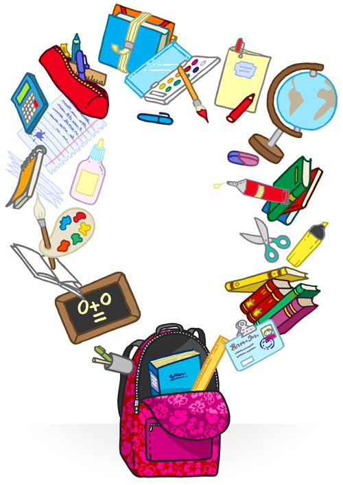 Colored School bag vector 01