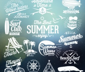 Summer vacation travel labels with logos vector 01