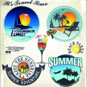 Link toSummer vacation travel labels with logos vector 02