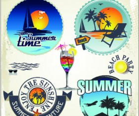 Summer vacation travel labels with logos vector 02